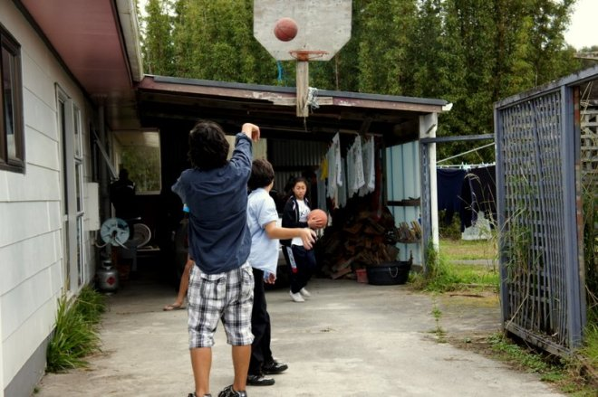 Matiu and Dain playing basketball
