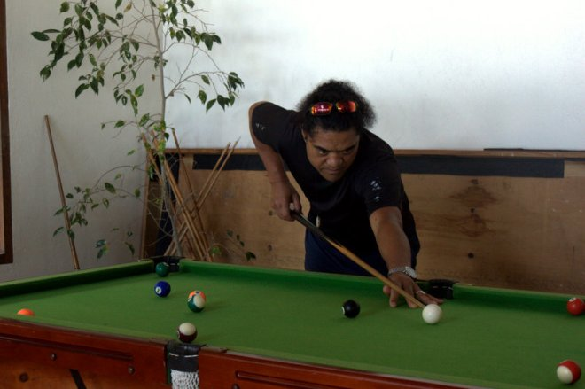 seven playing pool